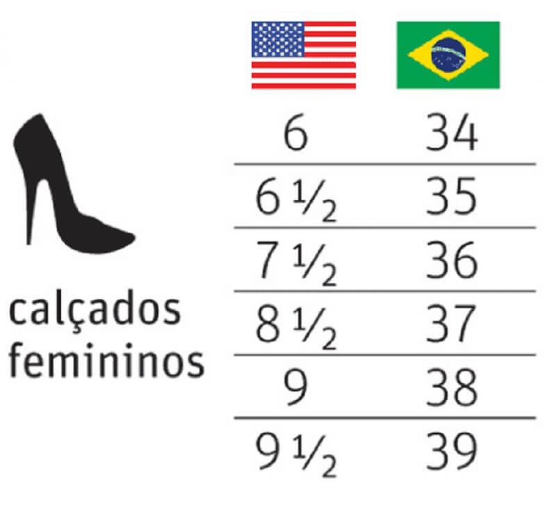 Tabela de conversão dos calçados femininos nos EUA